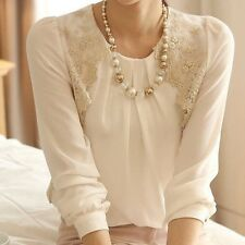 Women's Fashion Lace 3/4 Sleeve Sheer Tops Lace Shirt Vintage Chiffon Blouse