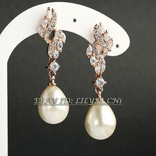 Fashion Rhinestone Pearl Drop Dangle Earrings 18KGP Crystal