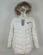 Andrew Marc NWT White Down Jacket with Coyote Fur Removable Hood, size PXL