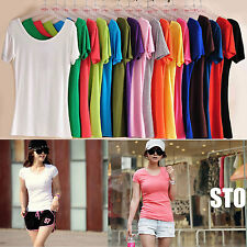 16 Colors Casual Women Sweater Cap Sleeve Crew Neck Short T shirt Blouses Tops