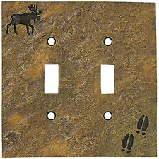 Big Sky Carvers Stonecast Double Switch Plate Cover Deer Moose Bear Pine Cone