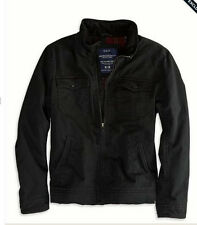 NEW American Eagle Men's - LARGE - Utility Canvas Flannel Lining Jacket - Black