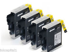 4 x Black Inkjet Cartridges Compatible Replacements For Brother LC123Bk, LC123