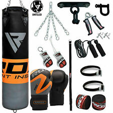 RDX 5FT / 4FT UnFilled Punch Bag Set Boxing Gloves Punching Muay Thai Kick MMA A