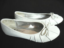 NEW LADIES WOMENS GIRLS FLAT BOW SHOES DOLLY PUMP BALLERINA FANCY WORK SIZE