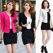 Fashion Womens Solid Slim OL Short Suit Blazer Basic Coat Jacket Outerwear S-XL