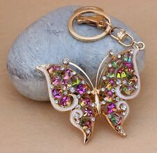 New Design Beautiful butterfly Car Keychain Crystal Purse Bag Key Chain Gift