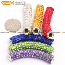 9x48mm Pave Curved Tube Cylinder CZ Crystal Rhinstone Beads Clay Jewelry Making