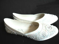 NEW LADIES WOMENS WHITE SEQUENCE ETHNIC INDIAN KHUSSA FLAT SHOE FANCY DRESS SIZE