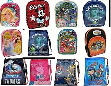 DISNEY BACKPACK SPORTS SCHOOL  TRAINER PUMP PE GYM SWIM KIT LUNCH CHARACTER BAG