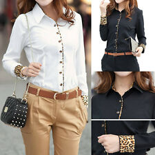 Women Cotton Long Sleeve OL Business Leopard T Shirt Top Blouse Black White