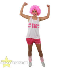 118 COSTUME LADIES PINK FANCY DRESS OUTFIT CHARITY RACE  + AFRO WIG + TASH