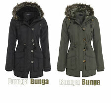 LADIES WOMENS BRAVE SOUL MILITARY PARKA JACKET PADDED COAT FUR HOODED SIZE 8-16