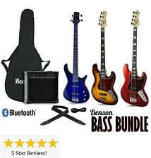 RIGHT & LEFT HANDED BENSON ELECTRIC BASS GUITAR WITH AMP OPTION  PACKAGE BUNDEL