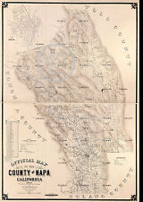 1895 LARGE NAPA VALLEY CALIFORNIA WINE COUNTRY MAP Largest Size