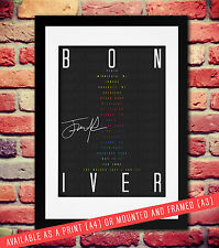 BON IVER BAND SIGNED AUTOGRAPH PRINT PHOTO POSTER TICKETS GIG SETLIST A4