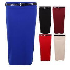 Women's Belted Pencil Ribbed Ladies Stretch Bodycon Party Office Tube Skirt