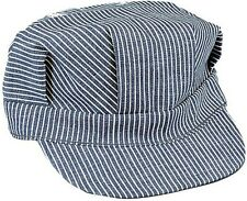 Hickory Blue & White Stripe 100% Cotton Train Conductor Engineer Cap Hat S - XL