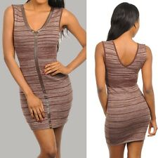 Sheath knit sleeveless mini dress v neckline Brown Cocktail Juniors S, M, L