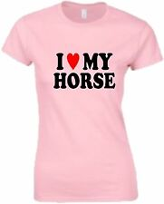 I Love (Heart) My Horse Ladies Fitted Horseriding T-Shirt Horse Riding T Shirt