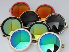 Fashion Round Sunglasses Color Reflective Glasses Metal Frame Eyeglasses 14967#