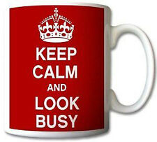 Keep Calm and Look Busy Mug Cup Gift Retro