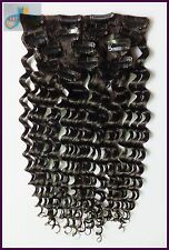120g 16''~26'' Wavy Deep/Body Clip In REMY Real Human Hair Extensions,Dark Brown