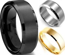 8MM Stainless Steel Ring Titanium Silver Black Gold Men SZ 7 to 15 Wedding Class