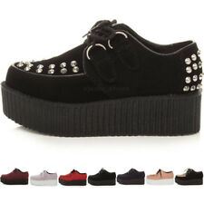 WOMENS LADIES FLAT DOUBLE PLATFORM WEDGE LACE UP PUNK GOTH CREEPERS SHOES SIZE