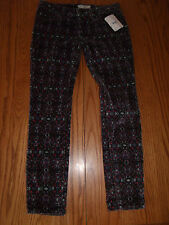 NWT WOMENS JUNIORS FREE PEOPLE BLACK CAPRIS PANTS VELVET PURPLE PINK BLUE 31 26