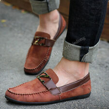 Men's Spring Metal Buckle Suede Casual Slip-ons Loafers Moccasins Driving Shoes