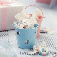 New baby shower christening party tiny feet pink & blue 6 favour pails buckets