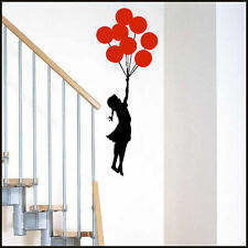 LARGE BANKSY ART FLOAT AWAY GIRL WITH BALLOON CHOICE OF 14 COLOURS WALL STICKER