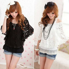 2014 Sexy Woman 2-Pieces Set See-through  Crew Neck Tops Tank Vest T-Shirts Lace