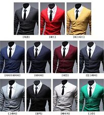 Men Slim Fit Cotton Knit Sweater Cardigan Button Deep V Neck Coat