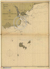 1913 PANAMA CANAL ZONE NAUTICAL CHART MAP Largest Size
