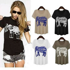S-XL Summer Vintage Round Neck Elephant Animal Print Slim Top Blouse T Shirt