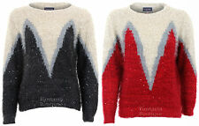 pull femme manches longues tricot mode hiver large col ras du cou style mohair