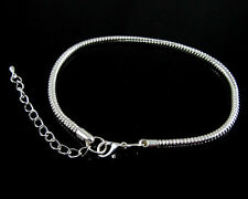 Silver Snake Chain Bracelet Lobster Clasp Charms Fit European Beads CY604