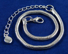 Silver Plated Magic Clasp Snake Chains Bracelet Fit European Charms Beads CY603