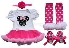 Newborn Infant Baby Girls Headband+Romper Dress +Leg+Shoes Pants Outfit Clothes
