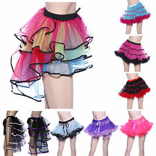 80s Rainbow Neon RaRa Rave Party Dance Ruffle Tiered Tutu Skirt Clubwear