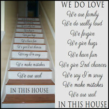 LARGE STAIRS STICKERS IN THIS HOUSE RULES WE ARE FAMILY LOVE TRANSFER UK STENCIL
