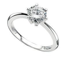 Sterling Silver 7mm Clear Cubic Zirconia Solitaire Ring *BAS/R926C