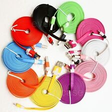 6ft Flat Noodle 8pin USB Data Sync Charger Cable for iPhone 5 5S 5C iPod Touch 5