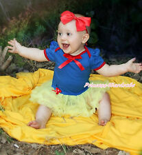 Snow White Girl Red Bow Royal Blue Bodysuit Yellow Skirt Baby Dress NB-18Month