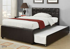 NEW ADENA CONTEMPORARY ESPRESSO FAUX LEATHER TWIN / FULL PLATFORM BED W/ TRUNDLE