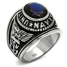 Stainless Steel Military NAVY Sapphire Mens Ring SIZE 8-13 TK414707