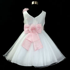P668 Pink White Wedding Party Dress Bridemaids Flower Girls Dresses Age 1 to 12Y