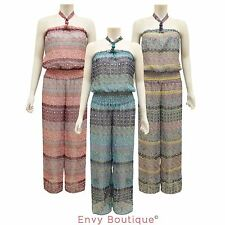 WOMENS LADIES HALTERNECK JUMPSUIT PLAYSUIT SUMMER CASUAL PALAZZO TROUSERS DRESS